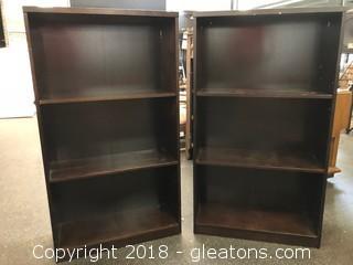 Pair Bookshelves Modern Espresso Dark Brown