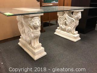 Stunning Beveled Glass Dining Table- Lion Table Mounts