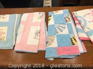 Lot Of Four Vintage Baby Quilts