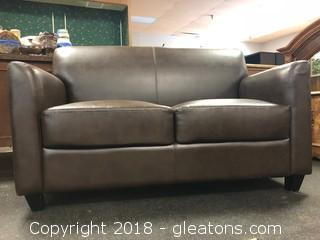 Small Love Seat Brown Leatherette