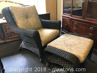 Outdoor Side Chair And Ottoman Black, Like-New
