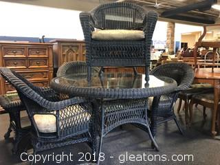 Outdoor Dining Table And Four Chairs Black, Like-New