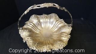 Very Ornate Silver Plated Basket