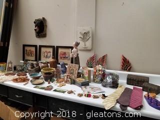 Large Table Lot Of Handmade Decor, Keychains, Ties, Wall Decor Etc...