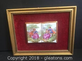 Framed Fragonard Ceramic On Velvet Matting
