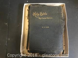 Vintage 1909 Red Letter Bible