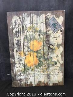 Set Of 2 Floral Postage Prints On Wood