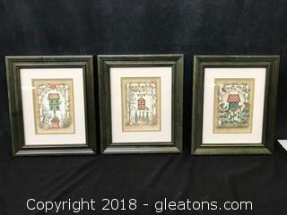 Set Of 3 Whimsical Birdhouse Prints. Framed