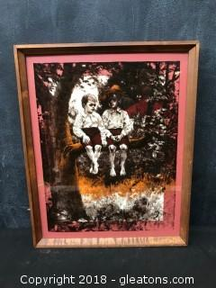 Print On Glass. 2 Young Rural Boys In Tree #1094. Framed