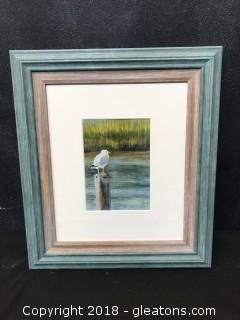 """Signed """"Clough"""" Print Of Bird And Watershed. Beautifully Framed"""