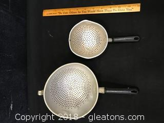 Lot Of 2 Small Antique Kitchen Strainers