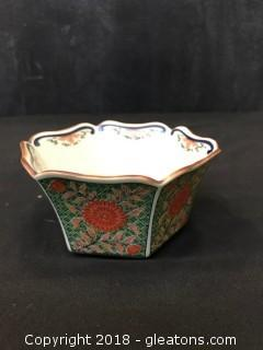 Antique Floral Painted Candy Dish