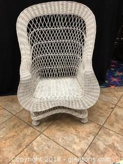 Vintage While Wicker Porch Chairs - Perfect Order Fan Back - Treasure