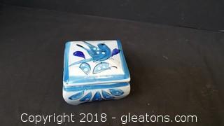 Handmade/Painted Pottery Trinket Box