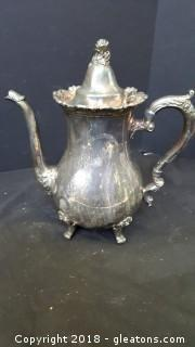 """Vintage Royal Rose By Wallace Silver Footed Tea Pot 11""""H"""