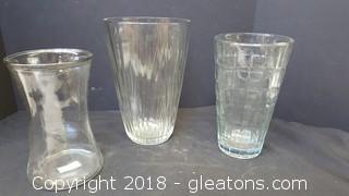 "Set Of (3) Large Glass Vases Largest 10""H"