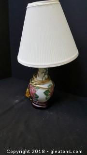 """Oriental Glass Lamp With Wooden Base 16""""H"""
