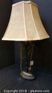 """Bamboo Style Pole Desk Top Lamp W/Shade 27""""H"""