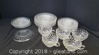 Vintage Bubble Glass Cups/Saucers