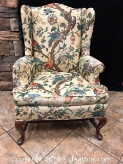 Vintage Side Chair - Has Arms Hickory Furniture Tapestry Pattern (A)