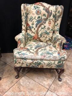Vintage Side Chair Has Arms Hickory Furniture Tapestry Pattern (B)