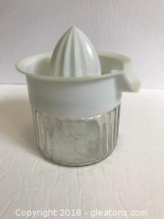 Vintage Hand Press Juicer With Glass Jar Attachment