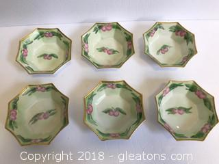 Set Of 6 Vintage China Dessert Bowls. Hand Painted. Stamped From France