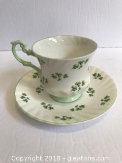 Antique Rosina English Fine Bone China Clover Design Tea Cup And Sawer
