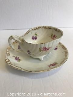 Vintage Seashell Tea Cup And Saucer