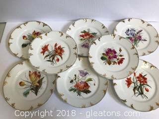 Set Of 8 Vintage Plates. Fine China Made In Germany Floral And Gold Design