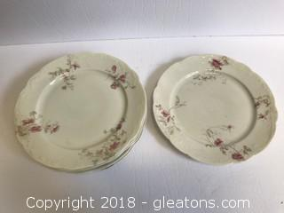 Set Of 6 Vintage Syracuse China Co. Dinner Plates White With Pink And Gold Flowers