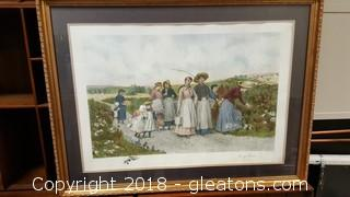 """Gold Wooden Framed Print By: """"Berry Pickers"""" After Etching By: Jes.s.King"""