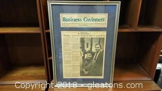 """Framed And Matted Newspaper Article """"Middle America"""" Heart Of Direct Mail Firm"""