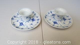 Set Of (2) Blue/White Candle Holders B+G #501