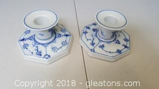 Set Of (2) Blue/White Candle Holder #3334 Royal Copenhagen