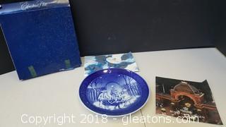 "Decorative Collectible Blue/White ""1990"" ""Royal Copenhagen"" Christmas Plate"