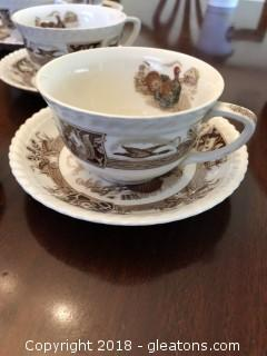 Lot of 8 Johnson Brothers Barnyard King Pattern cups and saucers