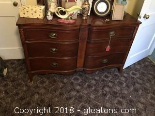 Vintage Drexel Mahogany 6 Drawer Dresser with Mirror