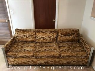 Vintage Mid Century  Bernhardt Chrome Fitted Sleeper Sofa