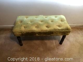 Vintage Velvet Buttoned Seat Bench