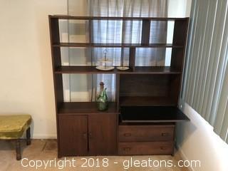 Vintage Teak Mid Century Modern Shelf  Bar Room Divider