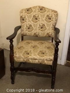 Vintage 1940's Spindle Leg Upholstered Side Chair