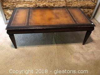 Vintage 1940's leather top coffee table