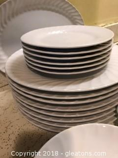 Set of Gibson White Patterned China and Serving Plate
