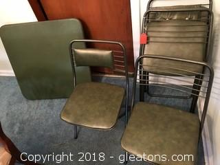 1940's folding Bridge Table and chairs