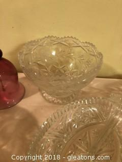 Lot of Vintage Glass and Serving Pieces