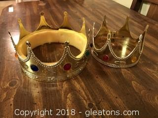 Lot of 2 heavy hard plastic birthday hats or king hats