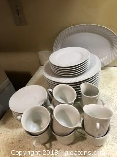 White Gibson Dish Set with Oval Platter