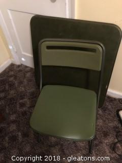 Vintage Folding Card Table with 2 chairs