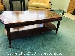Vintage 2 tiered wood and leather top coffee table